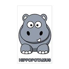 Cartoon Hippopotamus Rectangle Decal