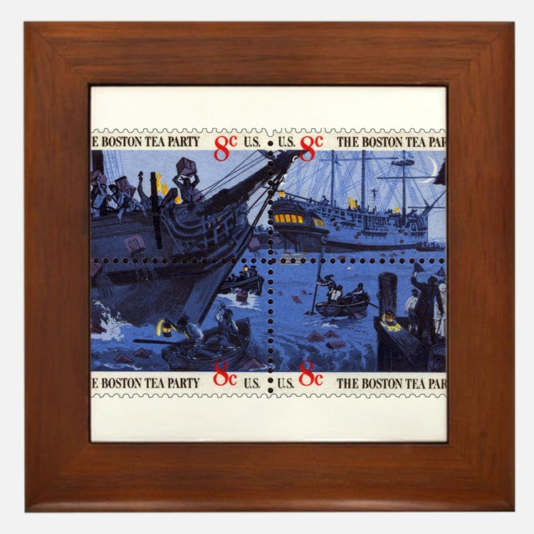 Cute Boston tea party Framed Tile