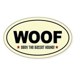 WOOF- Obey the Basset Hound Oval Sticker