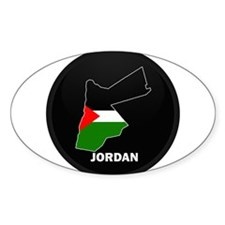 Flag Map of Jordan Oval Decal