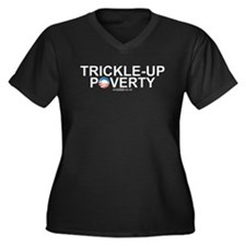 Trickle-Up Poverty Women's Plus Size V-Neck Dark T