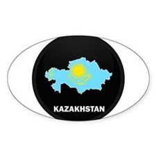 Flag Map of Kazakhstan Oval Decal