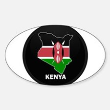 Flag Map of kenya Oval Decal