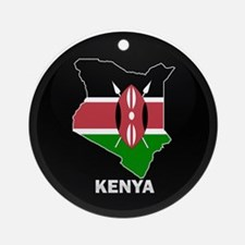 Flag Map of kenya Ornament (Round)