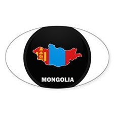 Flag Map of mongolia Oval Decal