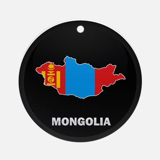 Flag Map of mongolia Ornament (Round)