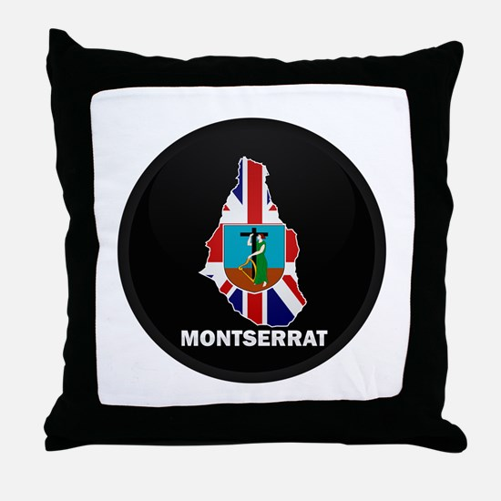 Flag Map of Montserrat Throw Pillow