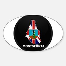Flag Map of Montserrat Oval Decal