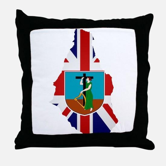 Montserrat Flag Map Throw Pillow