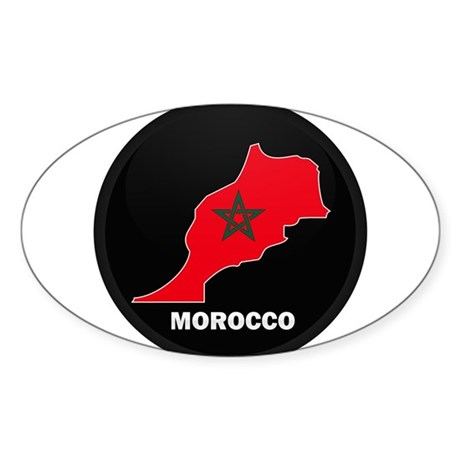 Flag Map of Morocco Oval Sticker (10 pk)