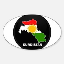 Flag Map of Kurdistan Oval Decal