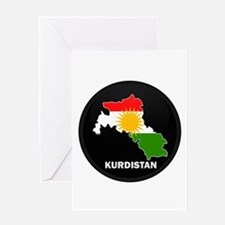 Flag Map of Kurdistan Greeting Card