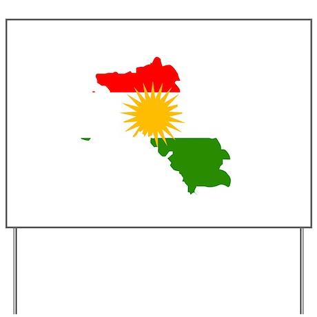 Kurdistan Flag Map Yard Sign