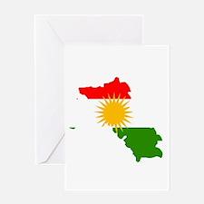 Kurdistan Flag Map Greeting Card