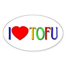I Love Tofu Oval Decal