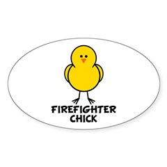 Firefighter Chick Oval Decal