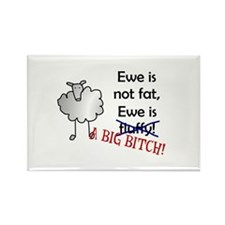 Ewe is not fat, Ewe is A BIG BITCH! Rectangle Magn