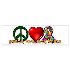 Peace, Love, Awareness Bumper Car Sticker