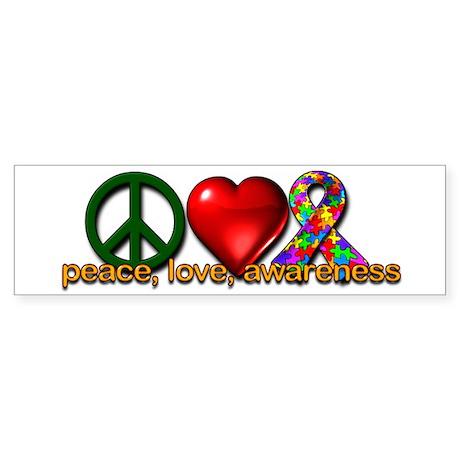 Peace, Love, Awareness Bumper Sticker