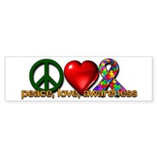 Peace, Love, Awareness Bumper Sticker (50 pk)