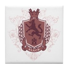 Black Family Crest Tile Coaster
