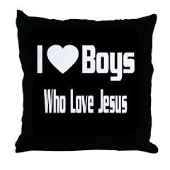 I Love Boys Throw Pillow