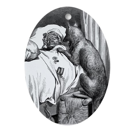 Big Bad Wolf Meets Granny Oval Ornament