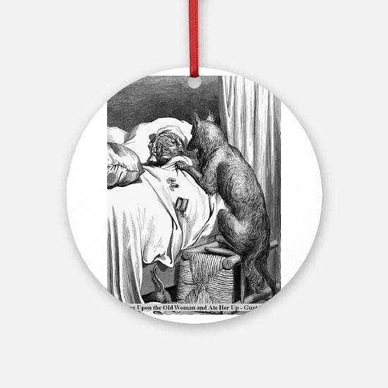 Big Bad Wolf meets Granny Ornament (Round)