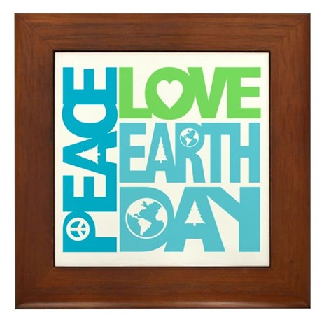 Peace Love Earth Day Graphic Framed Tile