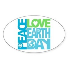 Peace Love Earth Day Graphic Oval Decal