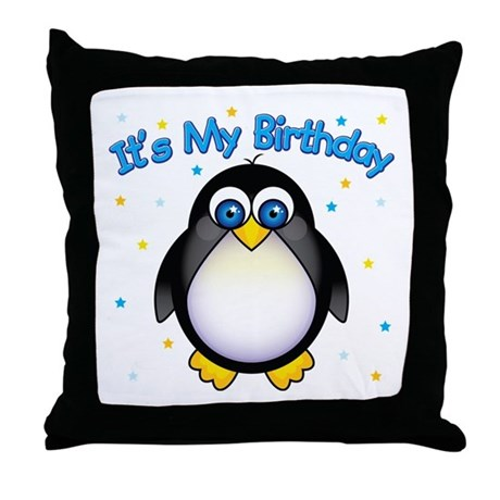Birthday Penguin Throw Pillow