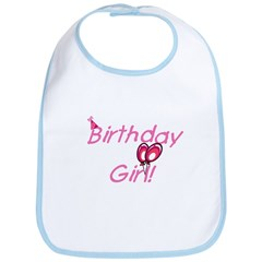 Birthday Girl Bib with Balloons and Hat