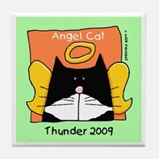 Tuxedo Angel Cat THUNDER Tile Coaster