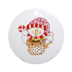 Snowman with Hot Chocolate Ornament (Round)