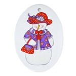 Snowman with Red Hat Oval Ornament