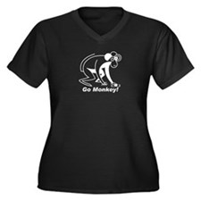 Go Monkey Women's Plus Size V-Neck Dark T-Shirt