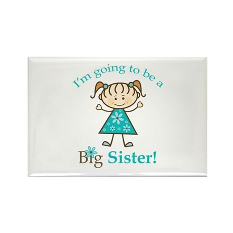 Big Sister To Be Stick Figure Rectangle Magnet (10