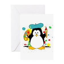Artistic Penguin Greeting Card