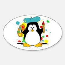 Artistic Penguin Sticker (Oval 10 pk)
