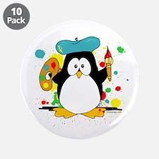 "Artistic Penguin 3.5"" Button (10 pack)"