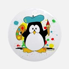 Artistic Penguin Ornament (Round)