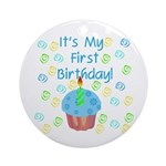 Cupcake 1st Birthday (Blue) Ornament (Round)