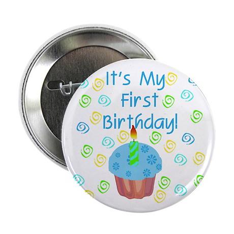 Cupcake First Birthday (Blue) Button