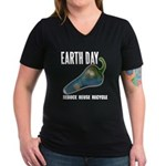 Earth Day Global Warming Women's V-Neck Dark T-Shi
