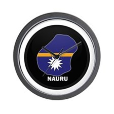 Flag Map of Nauru Wall Clock