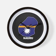 Flag Map of Nauru Wall Clock