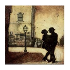 Shadow couple dancing on street Art Tile Coaster