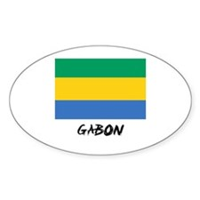 Gabon Flag Oval Decal
