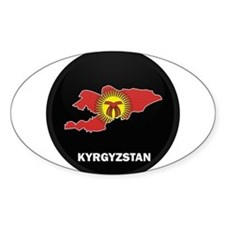 Flag Map of Kyrgyzstan Oval Decal