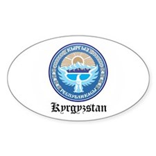 Kyrgyzstani Coat of Arms Seal Oval Decal